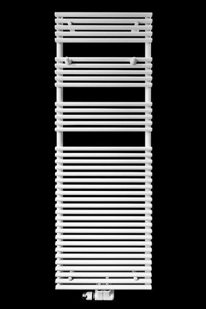 modern white radiator towel rail isolated on black with clipping path