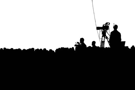 Television Press Conference production cameraman and crowd silhouette. Clipping path Lizenzfreie Bilder