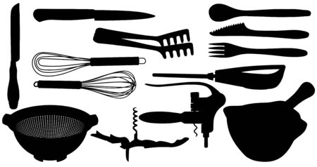 Silhouette of a Set of kitchen tools isolated on white background