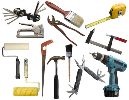 Set of work tools isolated on white background