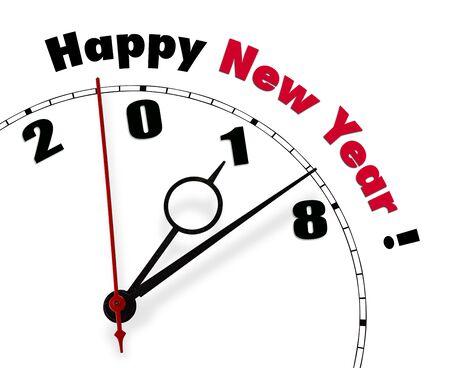 Weiße Uhr mit Worten Happy New Year 2018 Lizenzfreie Bilder