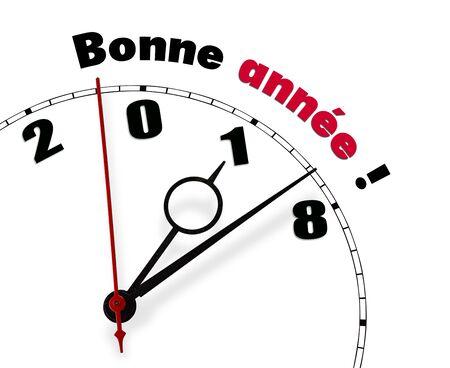 White clock with words Happy New Year 2018 Lizenzfreie Bilder