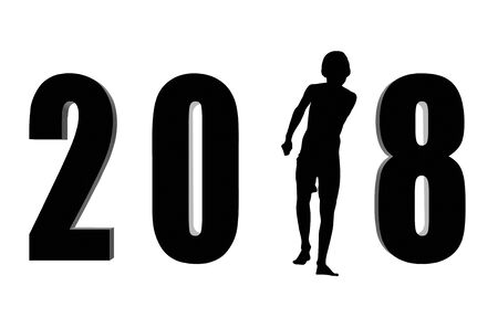2018 numbers and silhouette on white background