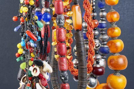 Colorful natural stone necklaces, jewelry background, woman personal accesories