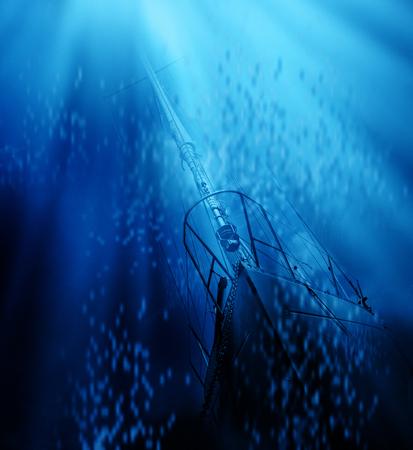 Elegant boat pollluted deep blue sea. envronment concept