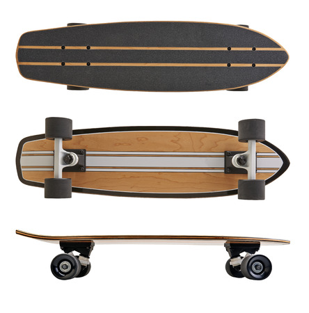 Black and wooden skate board isolated on a white background with clipping path