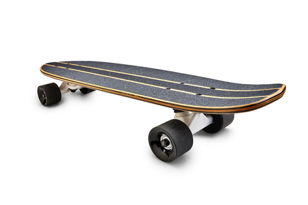 Rear view of a Black and wooden skate board isolated on a white background with clipping path Lizenzfreie Bilder
