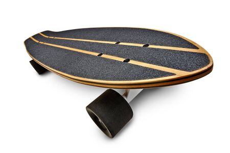 Dynamic view of a Black and wooden skate board isolated on a white background with clipping path