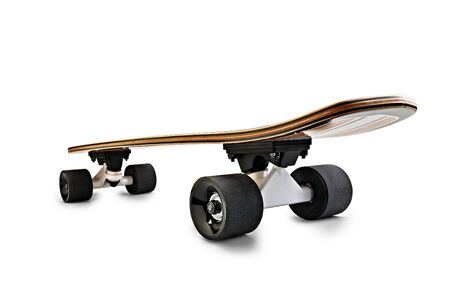 Dynamic rear view of a Black and wooden skate board isolated on a white background with clipping path