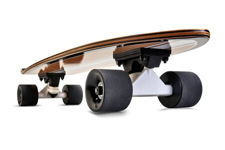 Dynamic front view of a Black and wooden skate board isolated on a white background with clipping path