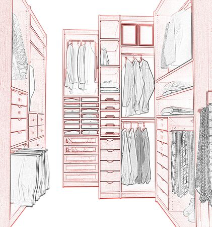 Sketch of a modern dressing room in home house