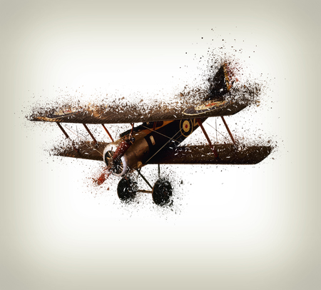 Old and vintage airplane shattered on white background