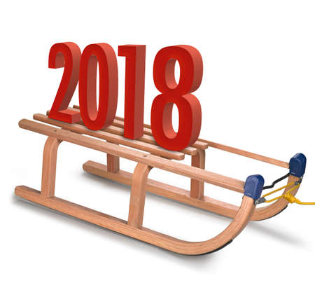 Classic Wooden sledge with 2018 New Year Sign on a white background.
