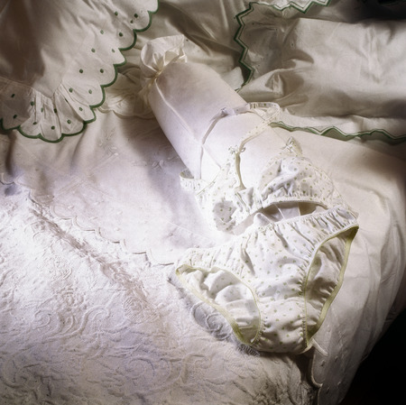 Weiß und weibliche Unterwäsche des Luxus, die auf Decke vom Bett legt Standard-Bild - 87765908