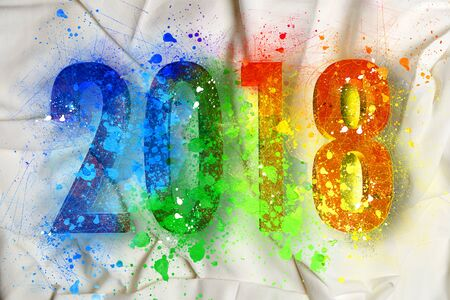 Explosion of colors for the new year 2018 on bedsheets Stock Photo