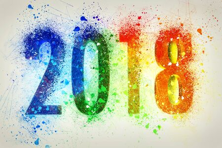 Explosion of colors for the new year 2018 on white Stock Photo