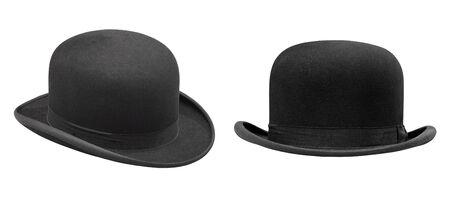 클리핑 패스와 함께 격리 된 두 세련 된 검은 중산 모자 스톡 콘텐츠 - 89207121