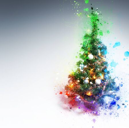Christmas Tree splashing on gradient background with copy space