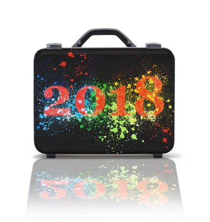 Business suitcase for travel with reflection and 2018 text splashing - clipping path Standard-Bild