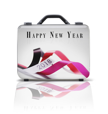 Business suitcase for travel with reflection and 2018 wishes - clipping path