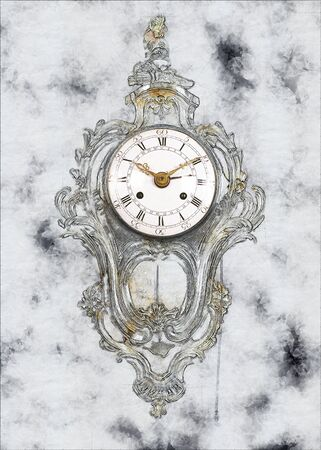 Partial sketch of a Old-fashion golden clock with pendulum