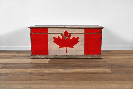 Modern interior with vintage wooden chest and Canadian flag painting