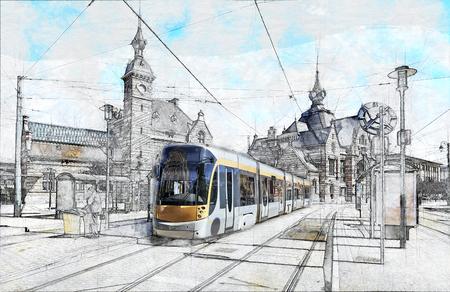 Partial sketch of New type of Brussels tram in front of the Schaerbeek station in Belgium
