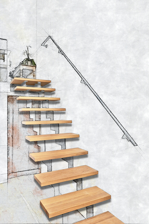 Sketch illustration of a Hardwood stairs and ramp in modern renovated living room