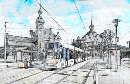 Sketch of New type of Brussels tram in front of the Schaerbeek station in Belgium Standard-Bild