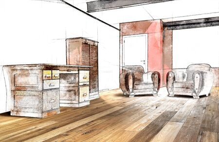 Sketch illustration of a interior wide loft, office and wooden floor
