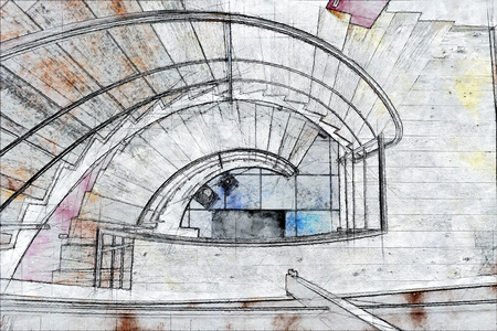Sketch illustration of a modern staircases in interior Standard-Bild