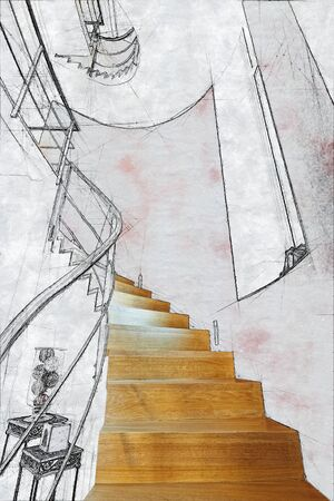 Skizzenillustration von moderne Treppenhäuser im Innenraum