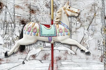 Partial Sketch of a A classic carousel horse. View from side