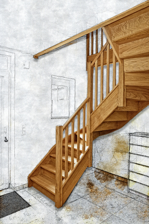 Sketch illustration of a Hardwood stairs and ramp in renovated room