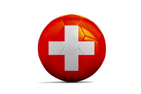 Fußballkugel lokalisiert mit Teamflagge, die Schweiz