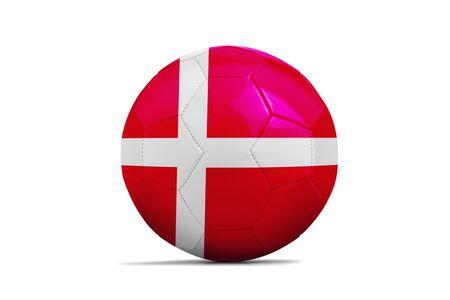 Soccer ball isolated with team flag, Russia 2018. Denmark