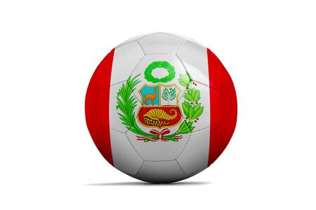 Soccer ball isolated with team flag, Russia 2018. Peru