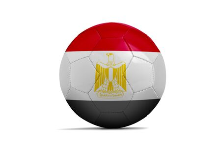 Soccer ball isolated with team flag, Russia 2018. Egypt