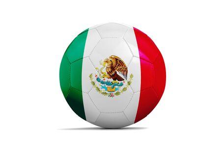 Fußballkugel lokalisiert mit Teamflagge, Russland 2018 Mexiko