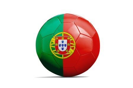Soccer ball isolated with team flag, Russia 2018. Portugal