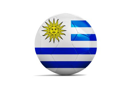 Soccer ball isolated with team flag, Russia 2018. Uruguay