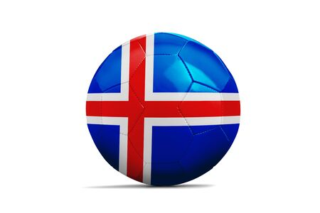 Fußballkugel lokalisiert mit Teamflagge, Russland 2018. Island