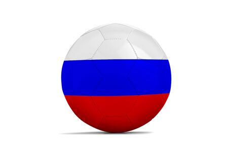 Soccer ball isolated with team flag, Russia 2018. Russia Standard-Bild