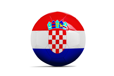 Soccer ball isolated with team flag, Russia 2018. Croatia