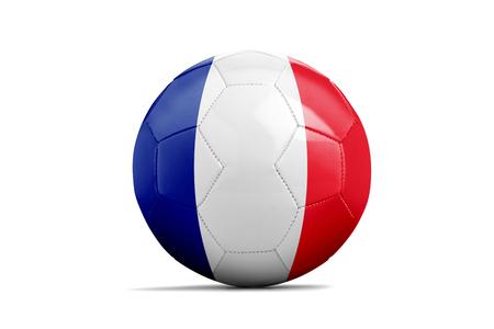 Ballon de foot isolé avec drapeau de l'équipe, France