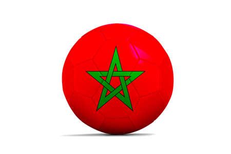 Soccer ball isolated with team flag, Russia 2018. Morocco Standard-Bild