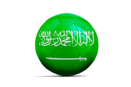 Soccer ball isolated with team flag, Saudi Arabia Standard-Bild