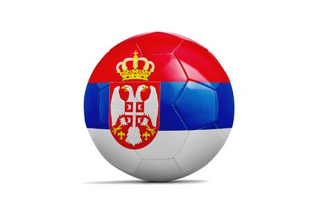 Soccer ball isolated with team flag, Russia 2018. Serbia Standard-Bild