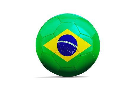 Soccer ball isolated with team flag, Russia 2018. Brazil