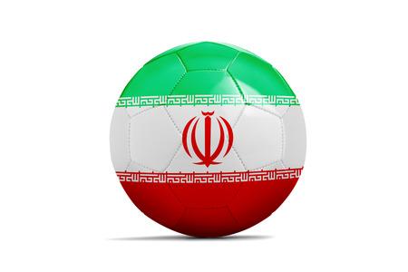 Fußball lokalisiert mit Teamflagge, Russland 2018. Der Iran
